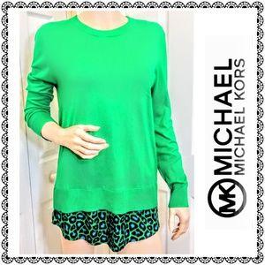 {MICHAEL Michael Kors} green layered sweater, sz S
